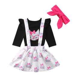 платья с длинным рукавом для малышей Скидка 0-3T Fashion Toddler Baby kleding Kids Girls Long Sleeve T-shirt Tops Skirt set Cute Cat Suit party Princess dress set