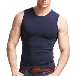 Wholesale body building tanks - Summer Men's Undershirt Sleeveless Cotton Blended O Neck Tank Tops Sweat Absorbing Body Building Singlets Men Fitness Vest