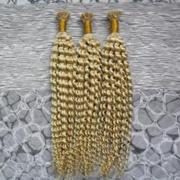 Argentina I Tip Extensiones de Cabello Fusion color # 613 Bleach blonde Kinky Pelo rizado 300g 1g / strand Stick Indian Remy Extensión del cabello humano supplier indian remy human hair extensions 613 Suministro