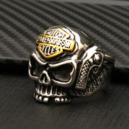 esqueleto completo Desconto Alta qualidade completa de aço de titânio dos homens do esqueleto do punk anéis personalidade popular motocicleta anéis de rock das mulheres dos homens harley skull ring