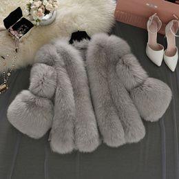 casacos de inverno xs Desconto Plus Size Mulheres Inverno Falso Fox Coats Macio Colete Com Zíper Gilet Quente Curto Shaggy Cardigan De Pele Outerwear Casaco Fino casaco