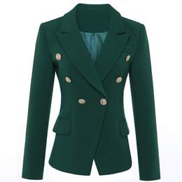 2019 mulheres casaco verde escuro De ALTA QUALIDADE Mais Novo 2018 Designer Blazer das Mulheres de Manga Longa Dupla Breasted Metal Leão Botões Blazer Jacket Outer Verde Escuro mulheres casaco verde escuro barato