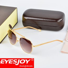 Wholesale wooden boxes gifts - Mens gift gold frames brand sunglasses fashion luxury logo glasses classical pilot frame top quality sunglasses for men with glaesses box