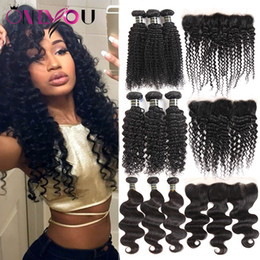 Wholesale kinky curly hair pieces - Unprocessed Brazilian Virgin Human Hair Weave 3 Bundles with Lace Frontal Deep Body Wave Kinky Curly Hair Extensions Frontal Weaves Closure