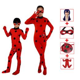 Wholesale Pink Ladybug - lady bug kids costumes girls women children girl spandex miraculous ladybug cat noir adult romper fancy dress cospaly Costumes