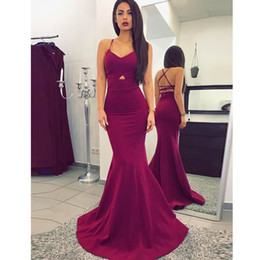 Wholesale Stretch Bridesmaid Dresses - Wine Jersey Stretch Satin Prom Dress Spaghetti Evening Dresses Sweetheart Mermaid Chapel Train Formal Party Gowns fast shipping