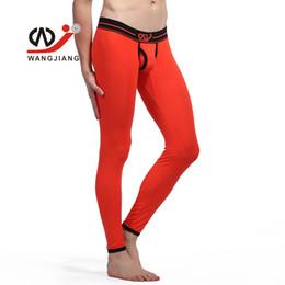 Wholesale wangjiang men s underwear - Sexy Open Bulge Thermal Underwear Modal Men Long John Pants Leggings WANGJIANG Brand Man Winter Warm Tights Low Waist Sleepwear