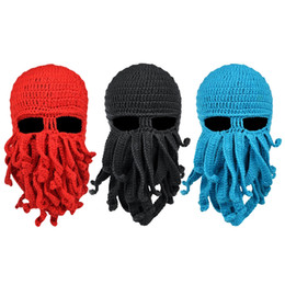 Wholesale Knitted Beard Ski Mask - Wholesale- Outdoor Sports Headwear Cycling Unisex Men Women Octopus Beard Ski Hat Mask Handmade Knitted Wool Riding Cycling Full Face Mask