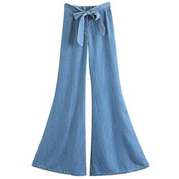 washing ties Promo Codes - Mild Washed Light Blue Soft Cowboy Flared Wide Leg Pants Waist Single-breasted Bow Tie Summer Womens Jeans Long Pants