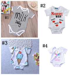 Wholesale 5t Christmas Outfit - Newborn baby boy girl unicorn clothes summer romper onesies jumpsuit kids clothing boutique outfits letter striped 2018 babies toddler A08