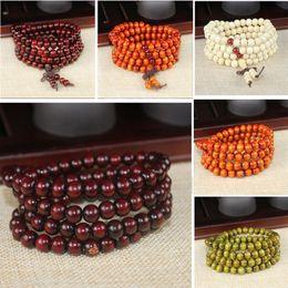 Wholesale Red Sandalwood Prayer Beads - Natural Sandalwood Buddhist Buddha Meditation 8mm 108 Beads Wood Prayer Bead Mala Bracelet With Bowknot Charm Stretchable Jewelry