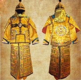 2019 bandiera del drago Dinastia Qing Abbigliamento armatura Manchu bandiera armatura Cinese antica Pelle di rame Drago generale Casco Corselet Kui Jia sconti bandiera del drago