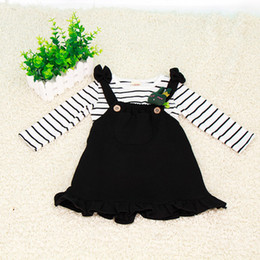 Wholesale overall dress girl - Infant Baby Long Sleeve T Shirt + Overalls Two-piece Girl Dress Cotton Striped Baby Girls Clothes Sets Spring Style Baby Outfits