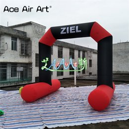 Wholesale arch stand - New arrived red black arch high quality inflatable start finish line arch,athletic arch with free standing for sale