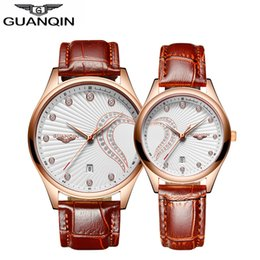 Wholesale Guanqin Watches - GUANQIN Couples Women Leather Watches Lovers Quartz Watch Men Brand Luxury Wristwatch Female Male Ladies casual Clock Hours