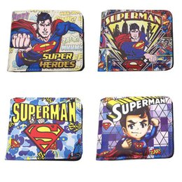 Wholesale New Fashion Girls Photos - Anime DC Superman Short Wallet High Quality Leather New Purse Card Holder Gift Money Bag for Boy and Girl