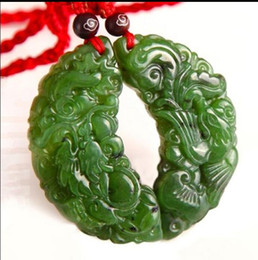 Wholesale chinese white jade necklace - Chinese Green Jade Dragon Phoenix Couple Pendant Necklace Charm Jewellery Hot