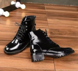 Canada Réel en cuir lacets plates-formes appartements femmes bottines femme en cuir nubuck bottes de moto bottes de combat hauteur de talon 3.5cm Offre