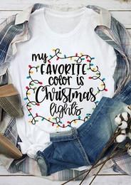 2019 tee di modo delle donne di natale 2018 Fashion Christmas White T-Shirt da donna My Favorite Color Is Christmas Lights Stampa Maglietta carina da donna Casual da donna Top Tee tee di modo delle donne di natale economici