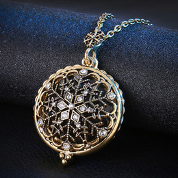 Wholesale Vintage Snowflake Necklace - Top Quality Crystal Snowflake Necklace Vintage Color Fashion Jewelry Free Pendant Magnifier Reading Glass Pendant Grandmother Gift D552S