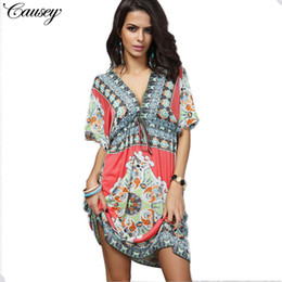 bf528943f New Trends Dresses Online Shopping - Women s clothes V collar printing  Conjoined skirt fashion Bat Middle