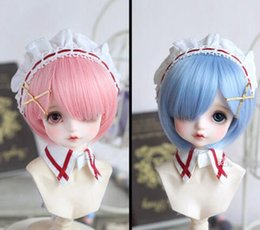 Wholesale New Hot BJD SD MSD Hair Sweet Pink Water Blue Color Medium Straight Wig