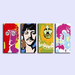2019 pinturas de limón The Beatles Animado, 4 Piezas Lienzos Arte de la pared Pintura al óleo Decoración para el hogar (sin marco / enmarcado)