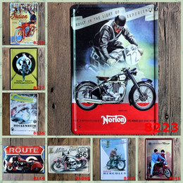 motorcycle factory direct Promo Codes - 20*30cm Motorcycle Tin Sign Hercules De Nieuwe Kreidler Iron Paintings Continental Norton Tin Poster Factory Direct Sale 3 99ljM B