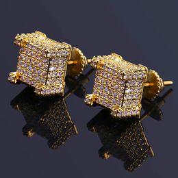 joyas de marca Rebajas Hiphop Pendientes chapados en oro para hombre Bling Cubic Zirconia Hip Hop Ear Studs Brand Design Gem Silver Plated Jewelry Envío gratis