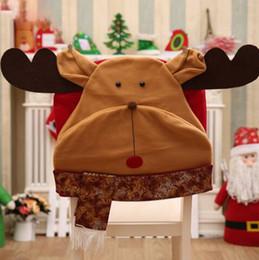 2019 Satış! Toptan Ücretsiz kargo Noel Sandalye Kapak Sandalye Arka Kapak Noel Yemeği Masa Parti Dekoru nereden