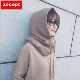 Wollkopf schals online-Zocept 2018 Frauen-Multifunktions-Schal-Hut Kaschmir-Wollmischung gestrickt sogar die Hals-Hüte Winter weiche warme einfarbige Kopfkappe