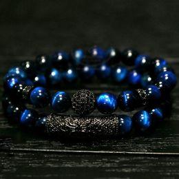 Pulso elástico on-line-2 pc / set Natural olho de tigre pérola contas pulseira set, jóias para homens e mulheres, material elástico beads Pulseira de Pulso acessórios