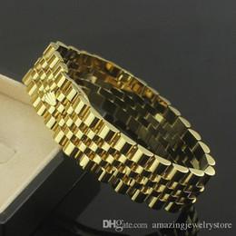Relógio de luxo banhado a ouro on-line-1.7 cm de largura para o Relógio de Corrente Coroa Pulseiras Pulseiras Para Os Homens Aço Inoxidável 316L Rose Banhado A Ouro de Luxo Designer de Moda Jóias PS6215A