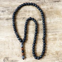 Canada Unisexe bijoux vintage perles de bois pierre de lave noire Mala avec pendentif de chapelet Bouddha hématite hommes noirs collier cheap wood stone necklace Offre