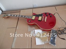 Wholesale tuning keys for electric guitars - Wholesale EPi LP CUSTOM RED Electric Guitar with golden tuning keys Guitar