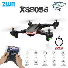 2019 drones wifi VISUO XS809S Dobrável Selfie Drone com Grande Ângulo de 2MP Câmera HD WiFi FPV XS809HW Atualizado RC Quadcopter Helicóptero Mini Dron drones wifi barato