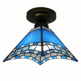 Vetro d'ottone da soffitto d'epoca online-Plafoniere del corridoio del vetro blu europeo Plafoniere di vetro del balcone dell'annata Tiffany Apparecchi di illuminazione del soffitto della camera da letto del corridoio