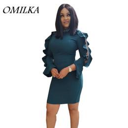 Wholesale hollow worked gowns - OMILKA 2018 Summer Women Flare Sleeve O Neck Ruffle Bodycon Dress Elegant Green Pink Mesh Rivet OL Work Party Mini Dress