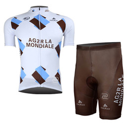 Wholesale mens cream suits - AG2R team 2018 Cycling Short Sleeves jersey (bib) shorts sets Bike Suit Mens Cycling Clothing Breathable C0901