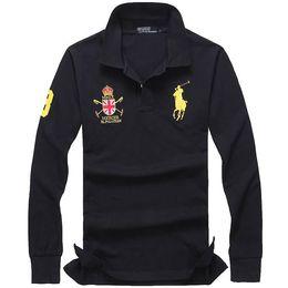 Manica lunga in polo online-2018 nuova camicia di POLO degli uomini casuali degli uomini casuali di alta qualità di cotone 100% di alta qualità all'ingrosso della camicia manica lunga. 4XL
