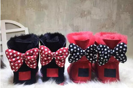 Wholesale Sheepskin Baby Boy - CLASSIC DESIGN SHORT BABY BOY GIRL WOMEN KIDS BOW-TIE SNOW BOOTS FUR INTEGRATED KEEP WARM BOOTS EUR SZIE 25-41 FREE SHIPPING