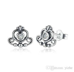Wholesale 925 silver rose stud earrings - New Arrival 100% 925 Sterling Silver Earring Rose White Bow Stud Earrings With Logo For pandora European Women fine silver Jewelry gift