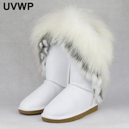 Wholesale Fox Fur Boots - 2017New Style big fashion natural fox fur cow leather lady high snow boots for women winter boots flats shoes rabbit fur tassels