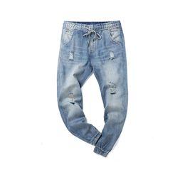 Caviglia elastica jeans online-Jeans causali degli uomini di nuovo arrivo di Propcm del nuovo arrivo 2018 Jeans lavati vita ansima dei pantaloni maschii della caviglia