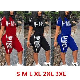 Wholesale ladies cycling sets - Love Pink Letter Women Shorts Outfit Set New Designer Girl's Tracksuit Shorts T-shirts Suits Summer Lady Jogging Sportswear S-3XL 3 Color