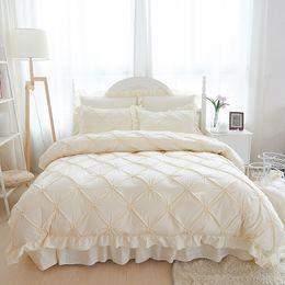 Wholesale Quilt Ruffle - 4 6pcs Hand-made Princess Quilt Duvet Cover Wedding 100% Cotton Ruffles Bedspread Bed Skirts Bedclothes Bedding Sets Beige Blue