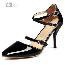 Wholesale women dresses size small - 2018 Plus Small Size 30-43 Summer Style Sexy High Heels for Sandals Women's with Shoes Woman Wedding Dress Ladies Ankle Strap