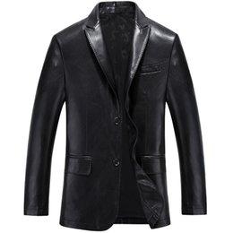 Wholesale mens leather parka coats - Mens Leather Business Blazers Man Single Breasted Trench Coat Jacket Top Quality Retro Suit jacket Coat Parkas Male Size 3XL