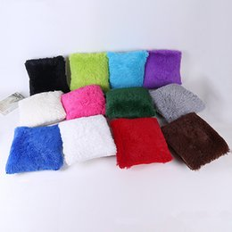 2019 43 coches 43 * 43 cm de Navidad de piel sintética funda de almohada 14 colores para el sofá del coche cojín de felpa de león marino funda de almohada ropa de cama decoración AAA1388 43 coches baratos