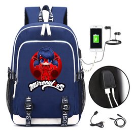 Wholesale backpacks for college students - Miraculous Ladybug Backpack with USB Charging Port and Lock &Headphone interface for College Student Work Men & Women